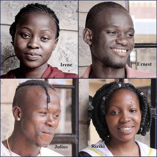 Vier Portrais von Jugendlichen, die durch die Ayiera-Initiative in die Schule gehen konnten. © Tom Rübenach