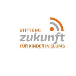 """Kindern und Jugendlichen zu einer Perspektive verhelfen. - Das Logo der """"Stiftung Zukunft düe Kinder in Slums"""""""